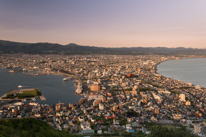83576753 - aerial view of hakodate during sunset from mount hakodate, hokkaido prefecture, japan