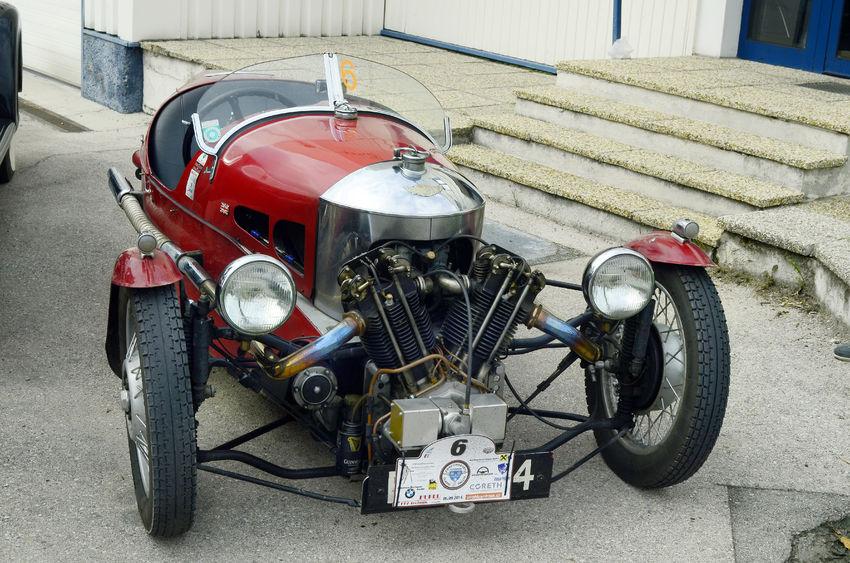43482625 - moosbrunn, austria - september 6th 2014: vintage car morgan 3-wheeler by ebreichsdorf classic, tournament for vintage cars on public roads
