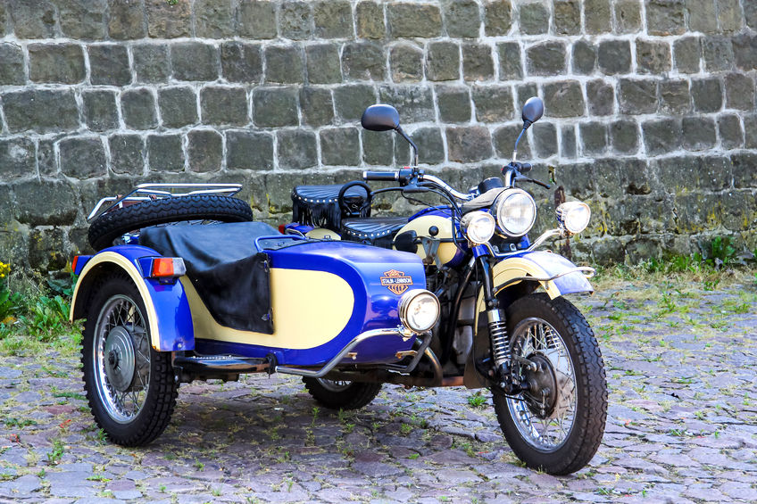 72721865 - dresden, germany - july 20, 2014: retro bmw motorcycle with a sidecar in the city street.